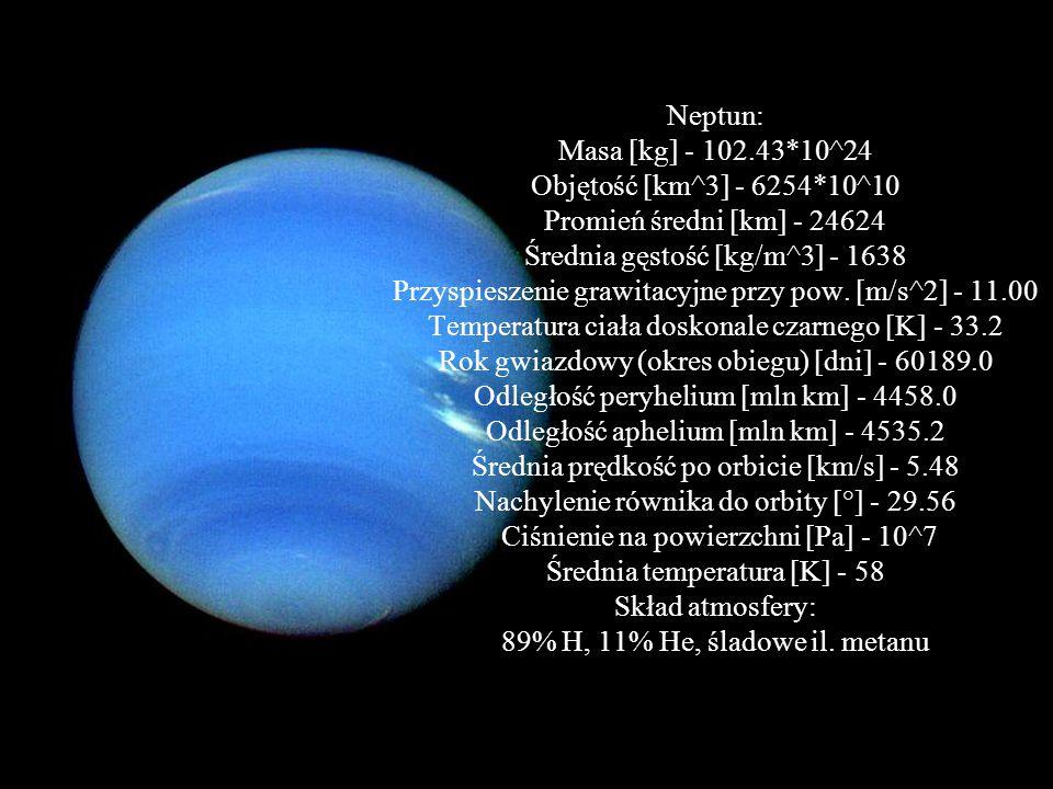 Neptun: Masa [kg] - 102. 43. 10^24 Objętość [km^3] - 6254
